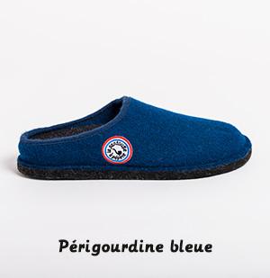 Pantoufle périgourde bleue