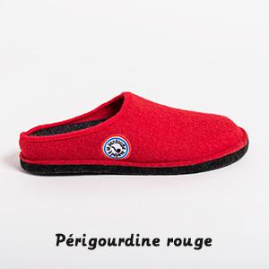 Pantoufle périgourde rouge